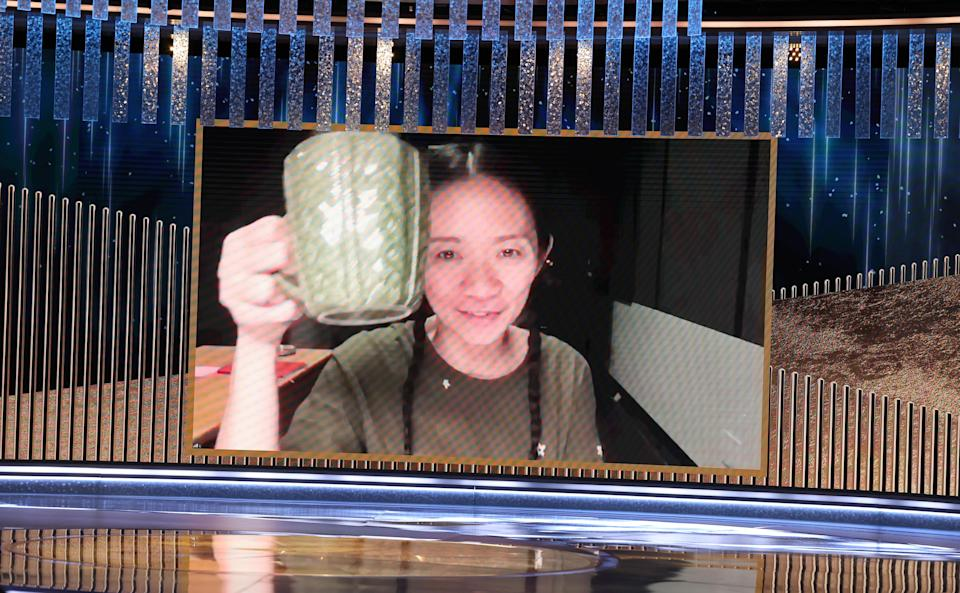 BEVERLY HILLS, CALIFORNIA: 78th Annual GOLDEN GLOBE AWARDS -- Pictured: Chloé Zhao accepts the Best Director Motion Picture award for 'Nomadland' via video at the 78th Annual Golden Globe Awards held at The Beverly Hilton and broadcast on February 28, 2021 in Beverly Hills, California. -- (Photo by Christopher Polk/NBC/NBCU Photo Bank via Getty Images)