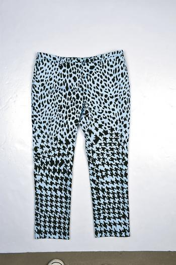 McQ blue leopard printed pants $3,499