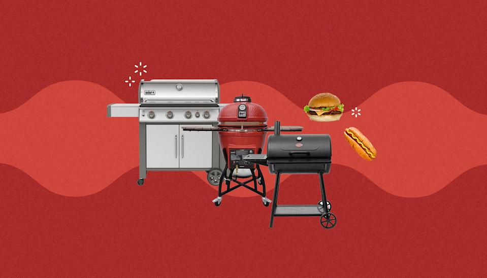 """<p>A grill is right up there with summertime staples like bathing suits and sunscreen—and similar to both of the latter, choosing one is a very personalized experience. There are so many outdoor grills on the market it can be tough to start the search, so consider things like how much space you have in your backyard, the quantity of food you'll likely be cooking, and if you prefer gas, pellet, electric, or charcoal grills.</p><p>For reference, gas grills are the most common type out there and allow for temperature control through turning the nobs. You'll need a propane tank or natural gas line on your property to use a gas grill, so keep that in mind when shopping as well. Charcoal grills call for briquettes or lump charcoal and involve a longer process for heating up and cooling down the surface, so is better for those that are experienced and like the smoky flavor. Electric grills are easy to use since they simply require a plug-in to get going which can be great for smaller spaces or apartments that don't allow for any other grills. As for pellet grills, they're some of the most popular on the market right now and use pellets made out of wood scrap which add a unique flavor to your food. </p><p>Need more grilling advice? Try these <a href=""""https://www.delish.com/cooking/g32257577/best-grilling-accessories/"""" rel=""""nofollow noopener"""" target=""""_blank"""" data-ylk=""""slk:must-have grilling accessories"""" class=""""link rapid-noclick-resp"""">must-have grilling accessories</a>.</p>"""