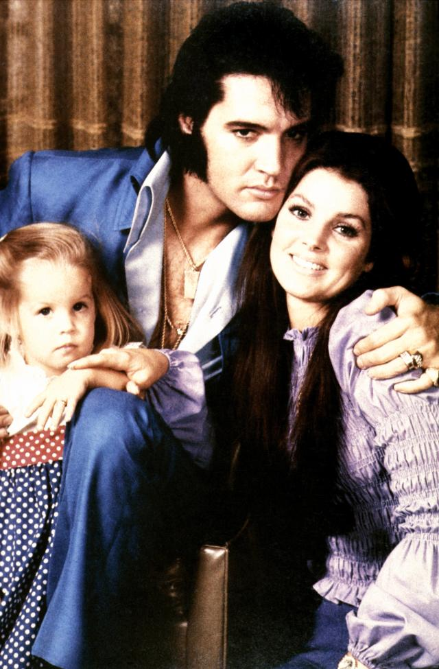 A 1970 photo of Elvis Presley and his wife, Priscilla, with their daughter, Lisa Marie. (Photo: Getty Images).