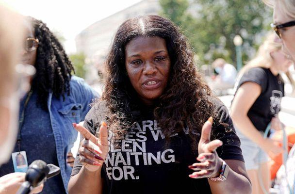 PHOTO: Representative Cori Bush  speaks to reporters about the upcoming expiration of the pandemic-related federal moratorium on residential evictions from the steps of the U.S. Capitol , July 31, 2021. (Elizabeth Frantz/Reuters)
