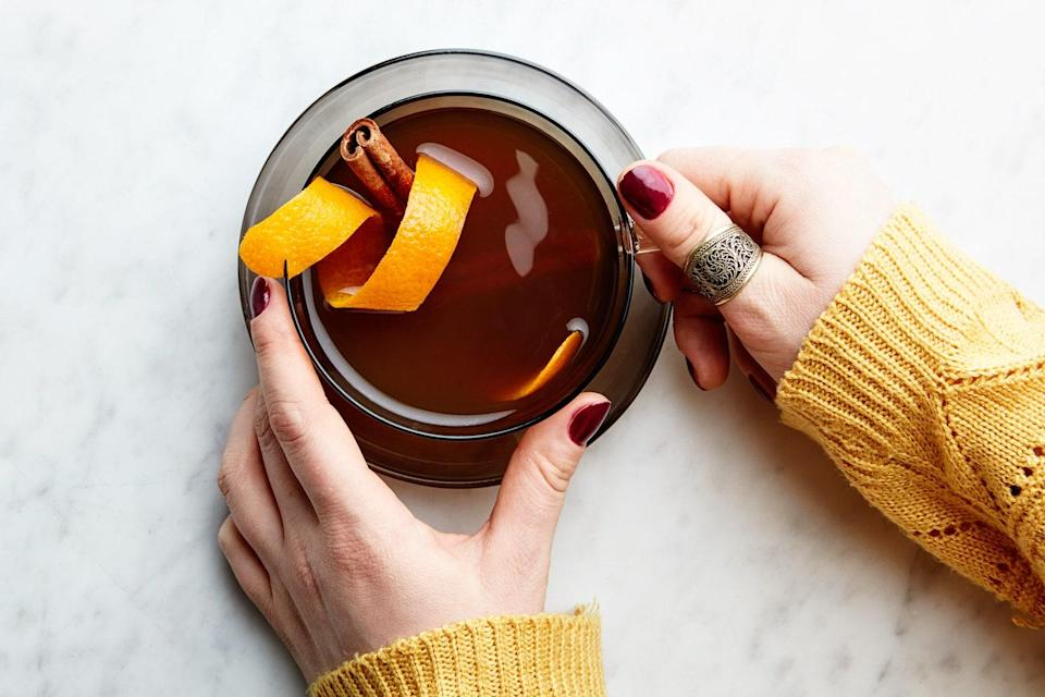 """The classic hot toddy is a cold-weather beverage of hot tea, lemon, and whiskey. This take adds rum and chai-inspired spices for a punchy pick-me-up on even the coldest of nights. <a href=""""https://www.epicurious.com/recipes/food/views/chai-spiced-hot-toddy?mbid=synd_yahoo_rss"""" rel=""""nofollow noopener"""" target=""""_blank"""" data-ylk=""""slk:See recipe."""" class=""""link rapid-noclick-resp"""">See recipe.</a>"""