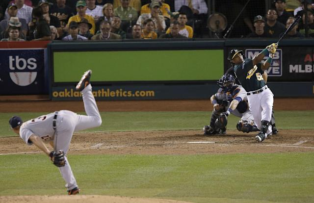 Detroit Tigers pitcher Max Scherzer, left, strikes out Oakland Athletics' Yoenis Cespedes (52) during the fourth inning of Game 1 of the American League baseball division series in Oakland, Calif., Friday, Oct. 4, 2013. (AP Photo/Jeff Chiu)