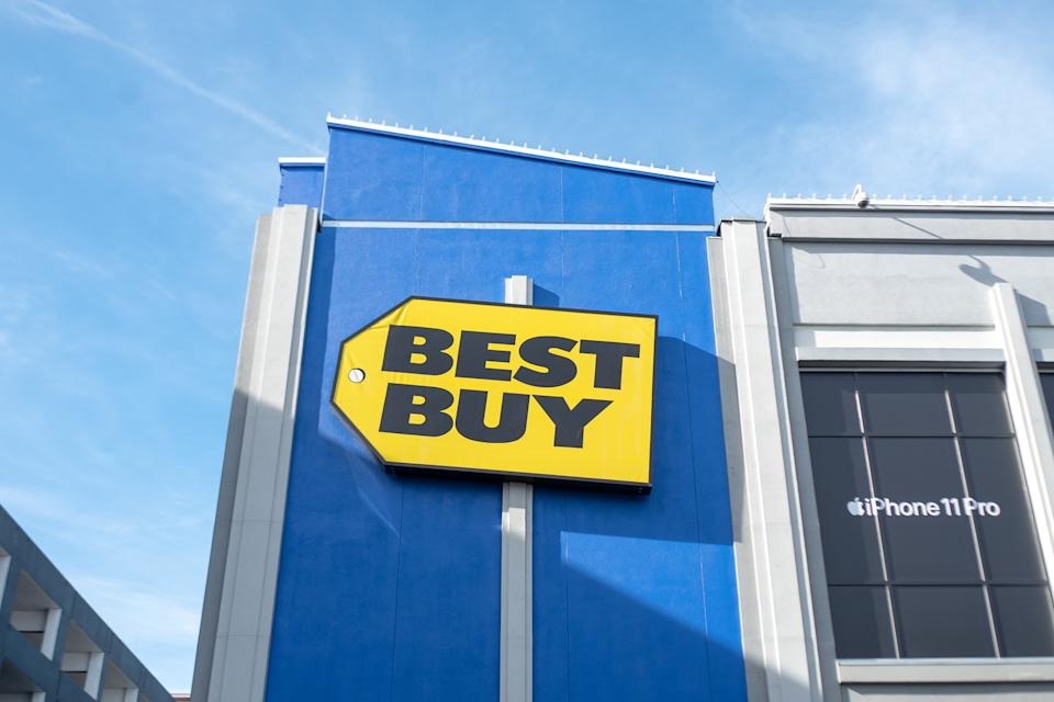 Low-angle view of sign with logo on facade of Best Buy electronics retail store on Santana Row in the Silicon Valley, San Jose, California, January 3, 2020. (Photo by Smith Collection/Gado/Getty Images)