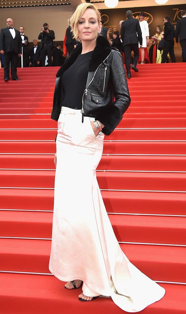 <p>Be cool, Uma. That seemed to be the vibe of her look at the <em>Loveless (Nelyubov)</em> screening on May 18. Biker chic on top and red carpet glamourpuss below made for one hot mama. (Photo: Stephane Cardinale/Corbis via Getty Images) </p>