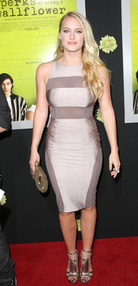 "HOLLYWOOD, CA - SEPTEMBER 10:  Actress Leven Rambin attends the Premiere Of Summit Entertainment's ""The Perks Of Being A Wallflower"" at the Arclight Cinerama Dome on September 10, 2012 in Hollywood, California.  (Photo by Frederick M. Brown/Getty Images)"