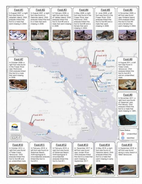 PHOTO: An infographic shows where human feet have been found on British Columbia shorelines since August 2007. (British Columbia Coroners Service)