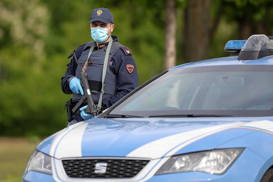 Police checkpoint during COVID-19 pandemic in Italy on April 28, 2020 in Carpi, Italy. (Photo by Emmanuele Ciancaglini/NurPhoto via Getty Images)