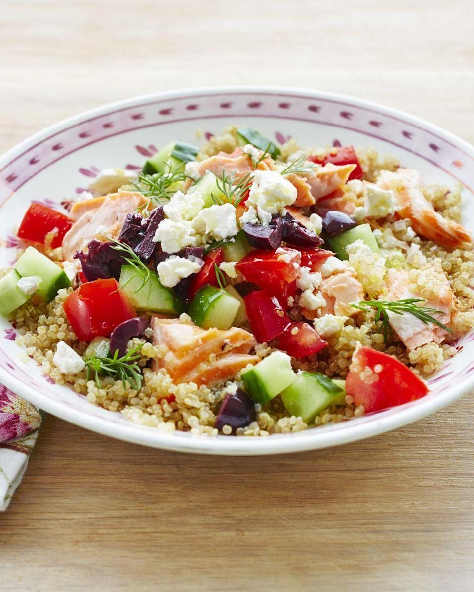 """<p>You can have this healthy lunch or dinner on the table in just 30 minutes. The lemony quinoa is topped with flaky chunks of baked salmon, cucumber, tomatoes, olives, feta, and a quick homemade dressing.</p><p><a href=""""https://www.thepioneerwoman.com/food-cooking/recipes/a32379441/mediterranean-salmon-veggie-grain-bowl-recipe/"""" rel=""""nofollow noopener"""" target=""""_blank"""" data-ylk=""""slk:Get Ree's recipe."""" class=""""link rapid-noclick-resp""""><strong>Get Ree's recipe.</strong></a></p><p><a class=""""link rapid-noclick-resp"""" href=""""https://go.redirectingat.com?id=74968X1596630&url=https%3A%2F%2Fwww.walmart.com%2Fbrowse%2Fhome%2Fbowls%2F4044_623679_3480962&sref=https%3A%2F%2Fwww.thepioneerwoman.com%2Ffood-cooking%2Fmeals-menus%2Fg37023193%2Fsalmon-recipes%2F"""" rel=""""nofollow noopener"""" target=""""_blank"""" data-ylk=""""slk:SHOP BOWLS"""">SHOP BOWLS</a></p>"""