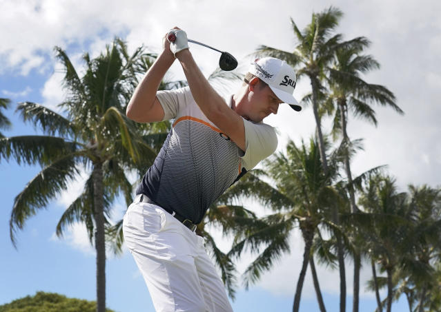 Andrew Putnam hits from the 18th tee during the second round of the Sony Open golf tournament Friday, Jan. 11, 2019, at Waialae Country Club in Honolulu. (AP Photo/Matt York)