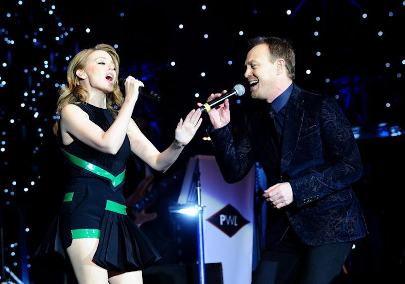 Kylie Minogue and Jason Donovan perform during the Hit Factory Live Christmas Cracker concert, at the O2 arena in London. (Photo by Ian West/PA Images via Getty Images)