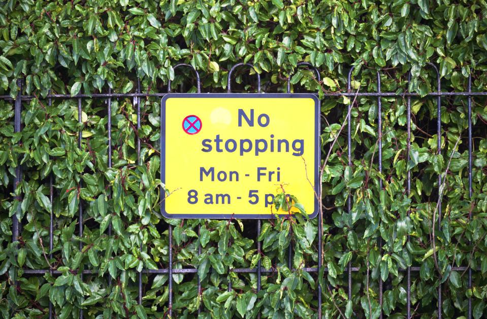 No stopping Monday to Friday on entrance school markings UK