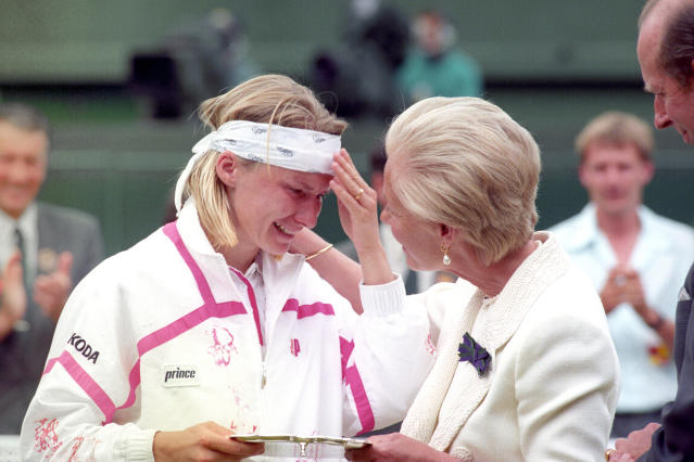 Jana Novotna had to be consoled by the Duchess of Kent in 1993 after losing the Wimbledon final to Steffi Graf