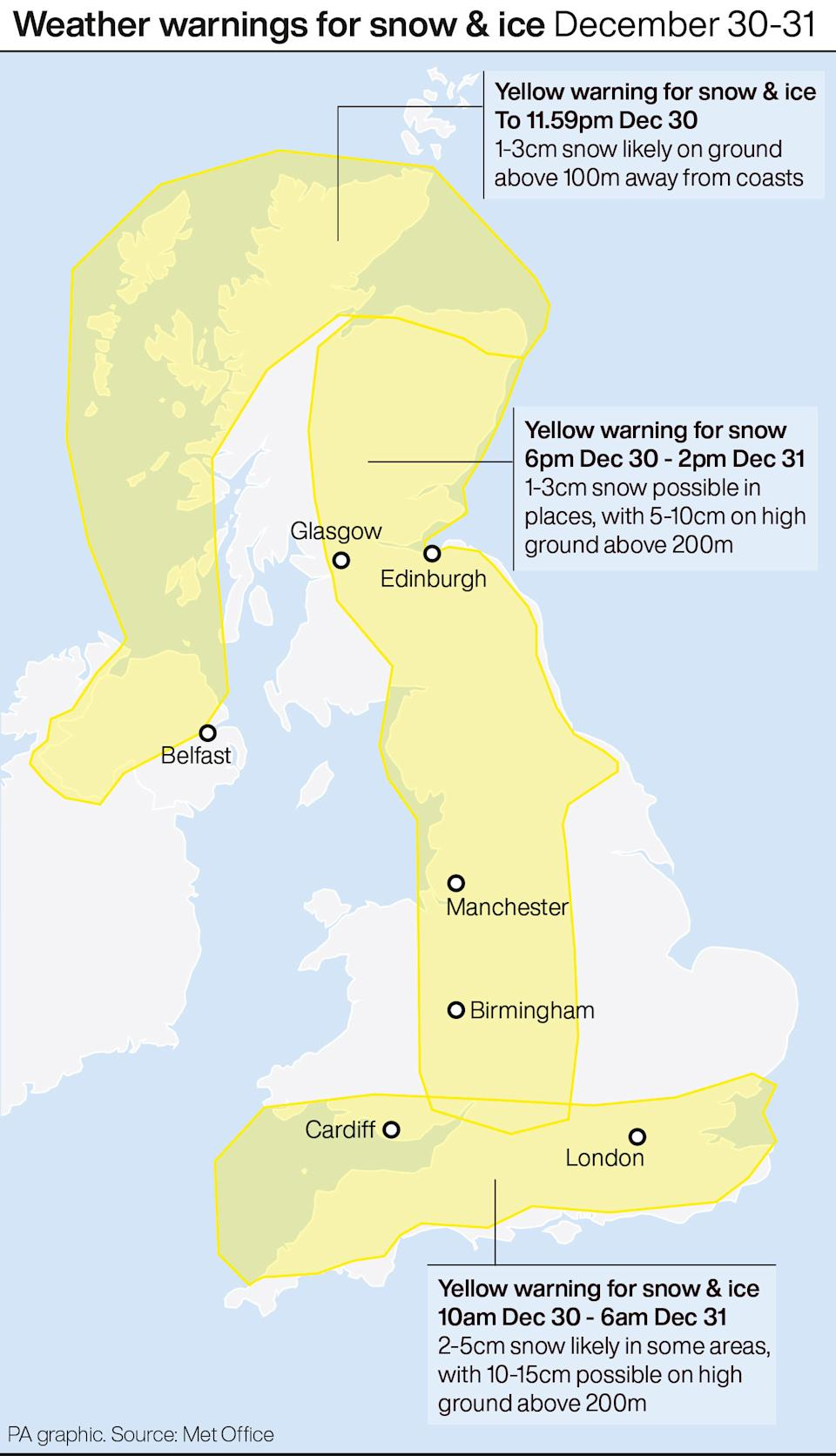 Weather warnings for snow & ice December 30-31. See story WEATHER Winter. Infographic PA Graphics. An editable version of this graphic is available if required. Please contact graphics@pamediagroup.com.
