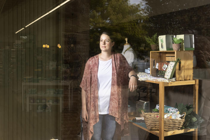 Kirsten Gjesdal stopped ordering some products for her kitchen supply store in Brookings, S.D., tired of telling customers she didnÕt know when the items would arrive. (Tim Gruber/The New York Times)