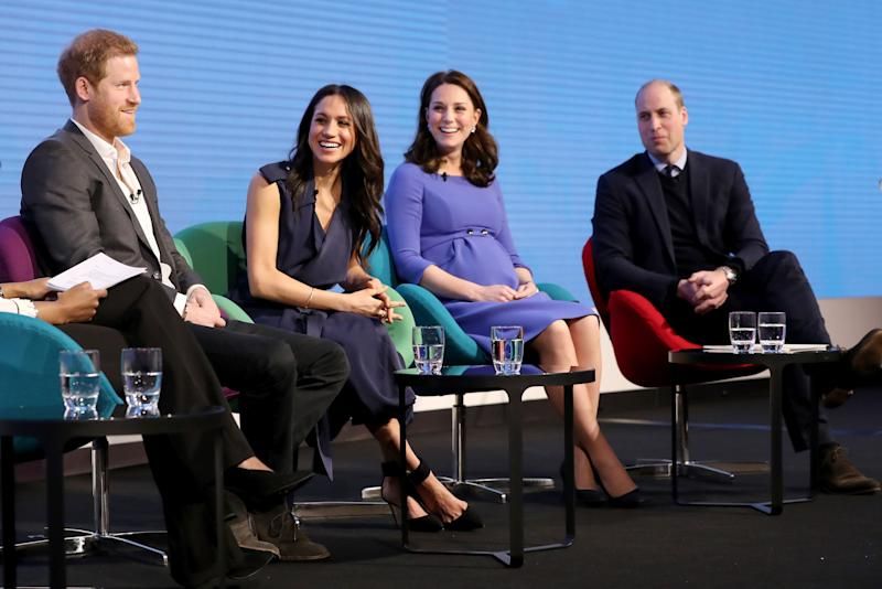 File photo dated 28/02/18 of (left to right) Prince Harry, Meghan Markle and the Duchess and Duke of Cambridge during the first Royal Foundation Forum in central London.