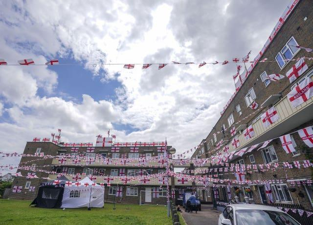 The residents of Towfield Court in Feltham have transformed their estate with England flags for the Euro 2020 tournament