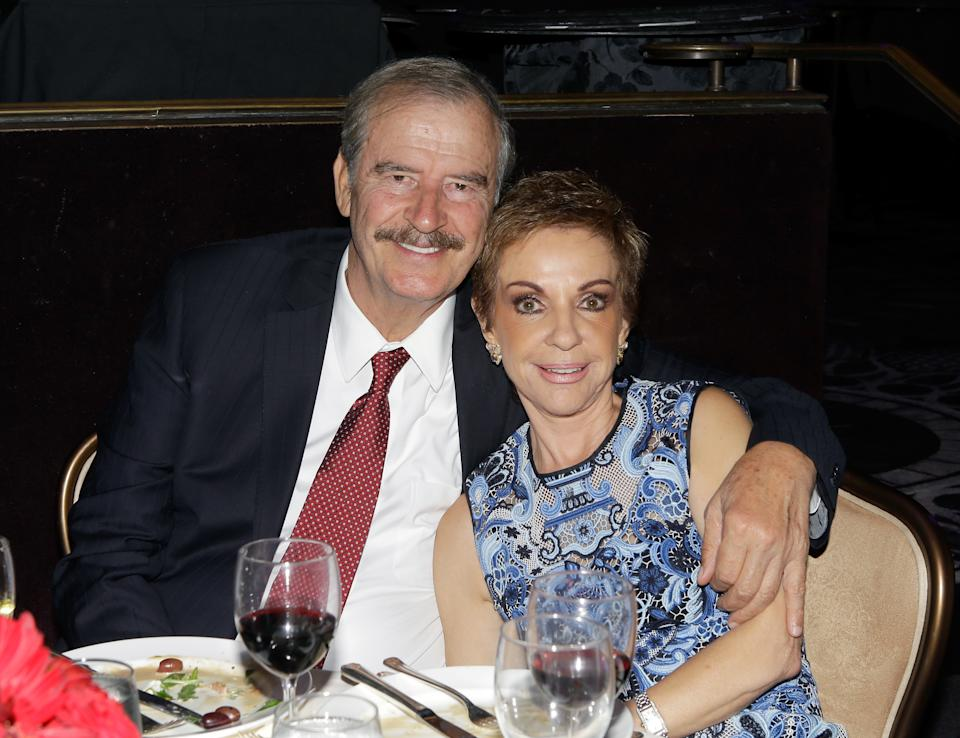 BEVERLY HILLS, CA - AUGUST 12:  Former president of Mexico Vicente Fox (L) and Marta Sahagun de Fox attend the 16th Annual Harold & Carole Pump Foundation Gala at The Beverly Hilton Hotel on August 12, 2016 in Beverly Hills, California.  (Photo by Tiffany Rose/Getty Images for Harold & Carole Pump Foundation )