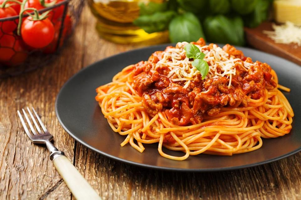 "Although it might sound a little strange, the word for an individual piece of spaghetti is <a href=""https://www.bonappetit.com/story/spaghetto-singular-for-spaghetti"" rel=""nofollow noopener"" target=""_blank"" data-ylk=""slk:spaghetto"" class=""link rapid-noclick-resp"">spaghetto</a>. The same goes for a single piece of confetti, which is confetto, as well as a single piece of graffiti, which is graffito, according to <a href=""https://www.merriam-webster.com/dictionary/graffito"" rel=""nofollow noopener"" target=""_blank"" data-ylk=""slk:Merriam-Webster"" class=""link rapid-noclick-resp"">Merriam-Webster</a>."