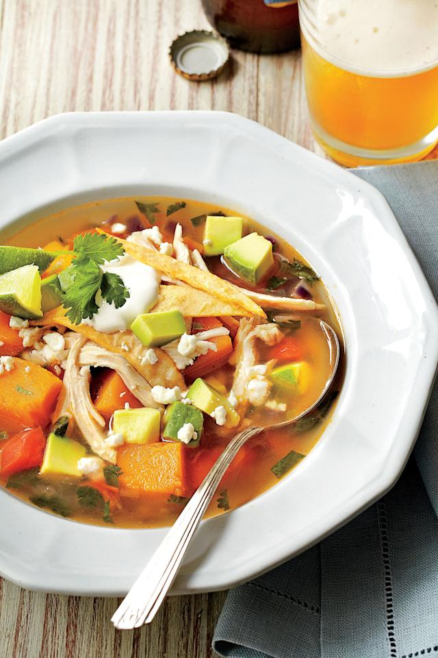 "<p><strong>Recipe:</strong> <a href=""http://www.myrecipes.com/recipe/butternut-squash-tortilla-soup-50400000132573/"" target=""_blank""><strong>Butternut Squash Tortilla Soup</strong></a></p> <p>It may be cold out, but you can still get your fresh veggie fix with golden butternut squash. Try one of these delicious butternut squash recipes for a warm and satisfying meal.</p> <p>In our first recipe, Texas-based blogger Russell Van Kraayenburg, Houston, Texas, (<a href=""http://chasingdelicious.com/"" target=""_blank""><em>chasingdelicious.com</em></a>) warmed up a Tex-Mex favorite, chili, with the addition of butternut squash.</p>"