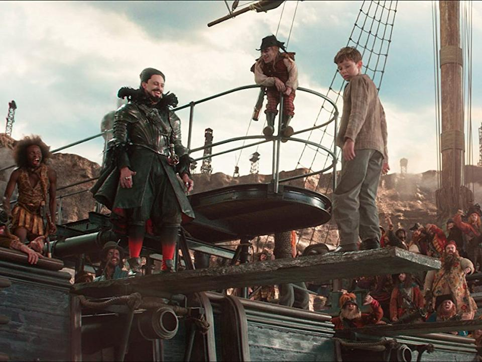 Hugh Jackman and Levi Miller as Blackbeard and Peter Pan.