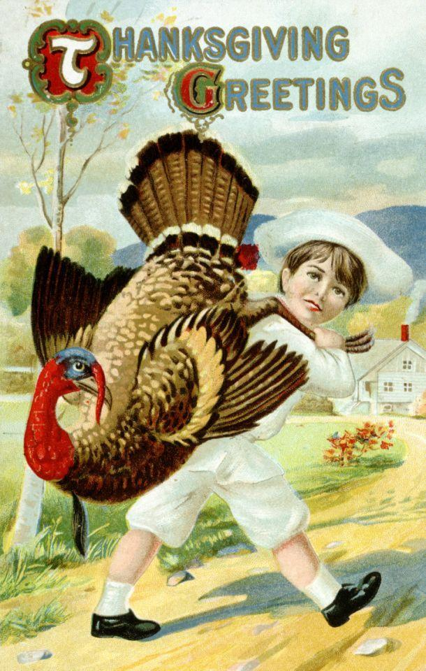 undated — Thanksgiving Greetings Postcard with a Boy Carrying a Turkey — Image by © K.J. Historical/Corbis via Getty Images