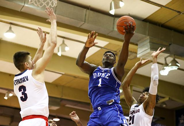Zion Williamson and his fellow freshmen's attempts at late-game heroics came up just short against Gonzaga. (Getty)