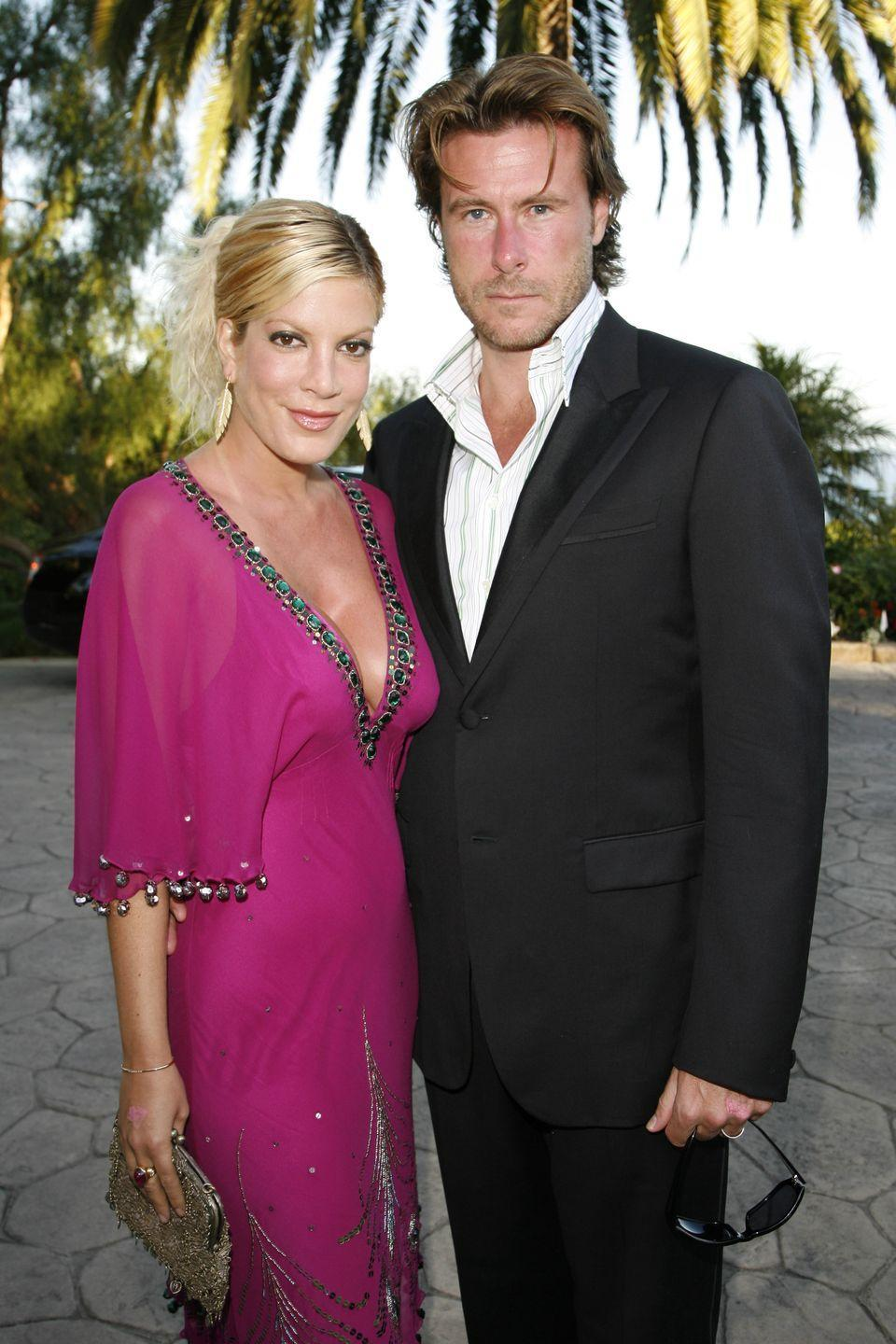 """<p>When Tori Spelling and Dean McDermott decided to say """"I do,"""" they jetted off to Fiji for their big moment. Tori and Dean, who were both married when they met and became involved, got <a href=""""https://people.com/celebrity/tori-spelling-dean-mcdermott-wed-in-fiji/"""" rel=""""nofollow noopener"""" target=""""_blank"""" data-ylk=""""slk:hitched on a private island"""" class=""""link rapid-noclick-resp"""">hitched on a private island</a> a year after meeting. </p>"""