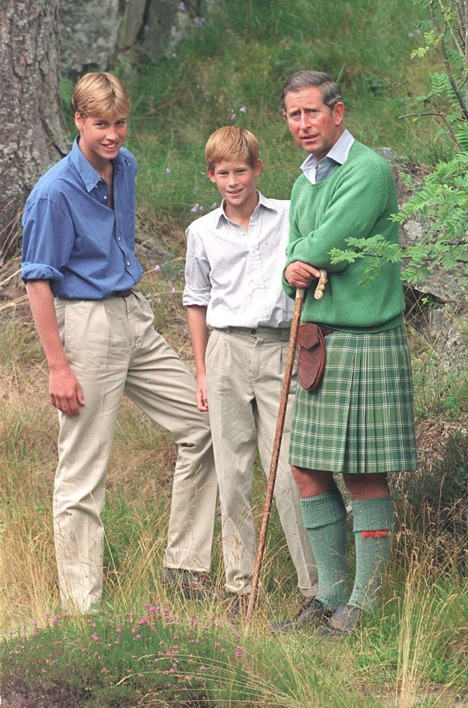 369056 19: FILE PHOTO: (AMERICAS ONLY) Prince William, left, poses for photographers August 16, 1997 along with Prince Harry and Prince Charles at Balmoral, Scotland. The prince celebrates his eighteenth birthday June 21, 2000. (Photo by Julian Parker/UK Press)