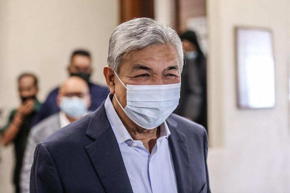 Datuk Seri Ahmad Zahid Hamidi is pictured at the Kuala Lumpur High Court August 11, 2020. — Picture by Firdaus Latif