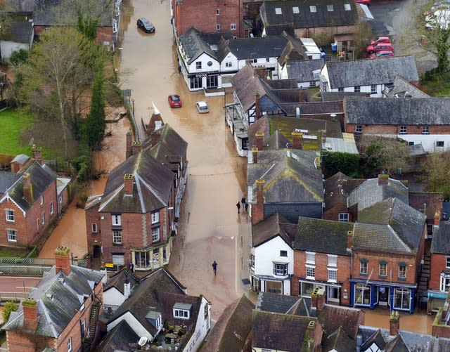 Funding will go to help places such as Tenbury Wells, hit by flooding in February (Steve Parsons/PA)