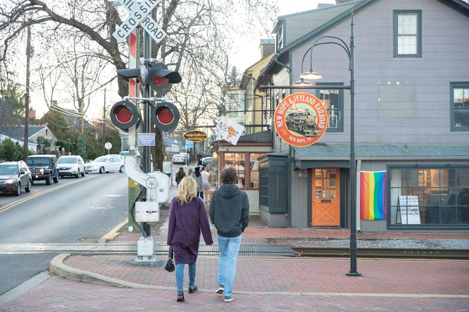 <p>New Hope, Pennsylvania, is known as one of America's most LGBTQ-friendly small towns. Main Street is proliferated with rainbow flags. </p>