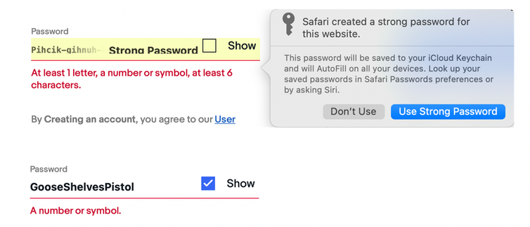 Screenshot of an attempt to use a generated password.