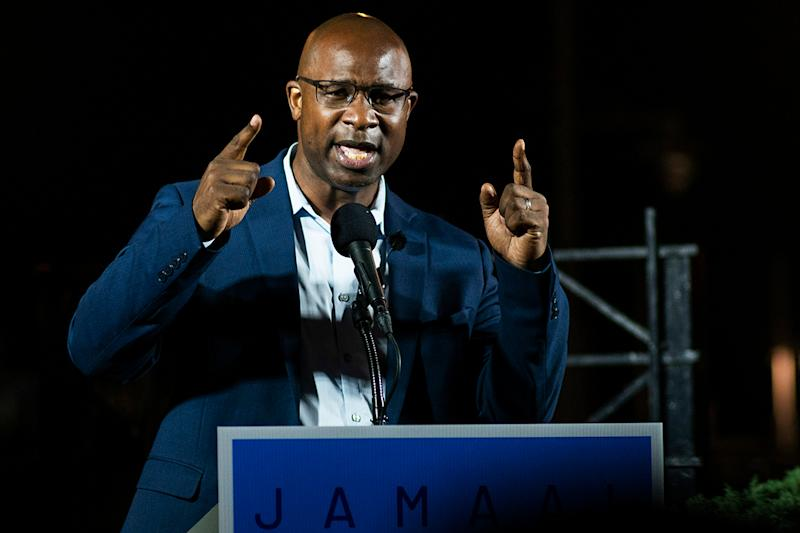 Jamaal Bowman speaks to attendees during his primary-night party Tuesday, June. 23, 2020, in New York. Bowman was running against Rep. Eliot Engel, D-N.Y., in the primary. (AP Photo/Eduardo Munoz Alvarez)