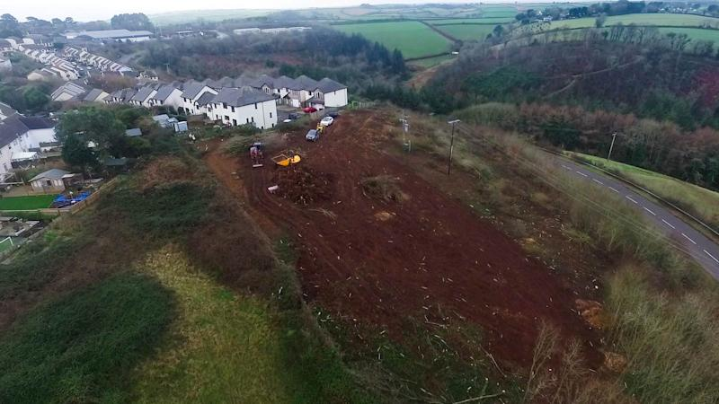 A developer has been accused of clearing the woodland before securing planning permission (Picture: Andrew Love/SWNS)