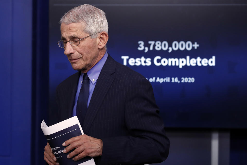 Dr. Anthony Fauci, director of the National Institute of Allergy and Infectious Diseases, walks from the podium after speaking about the coronavirus in the James Brady Press Briefing Room of the White House, Friday, April 17, 2020, in Washington. (AP Photo/Alex Brandon)