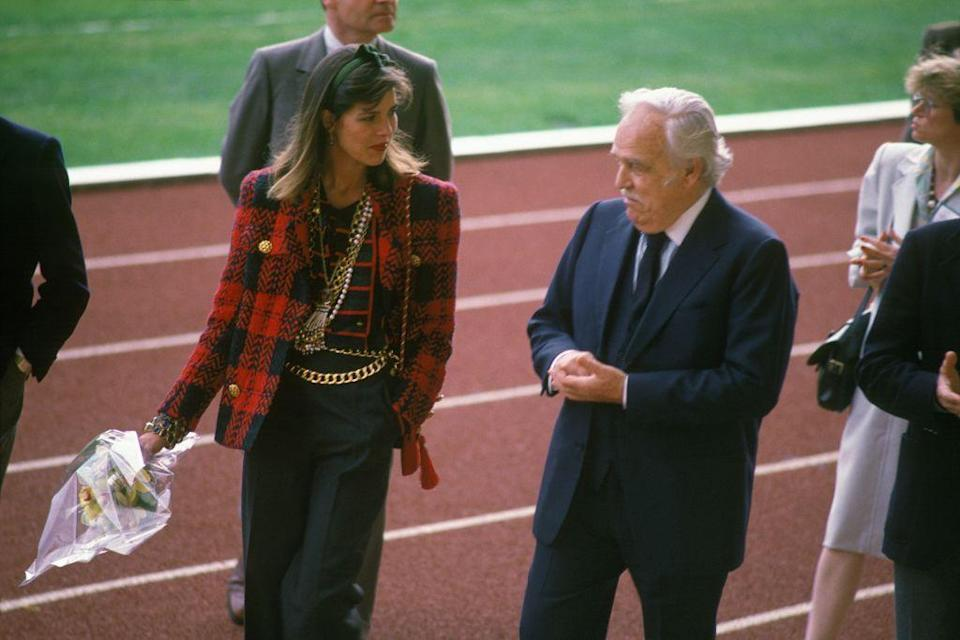 """<p>In April 1985, the princess accompanied her father to a squash tournament in a very '80s-appropriate ensemble: <a href=""""https://www.townandcountrymag.com/style/fashion-trends/a34227995/dynasty-shoulders-2020-runway-trends/"""" rel=""""nofollow noopener"""" target=""""_blank"""" data-ylk=""""slk:shoulder pads"""" class=""""link rapid-noclick-resp"""">shoulder pads</a>, a bow headband, and chunky gold accessories.</p>"""