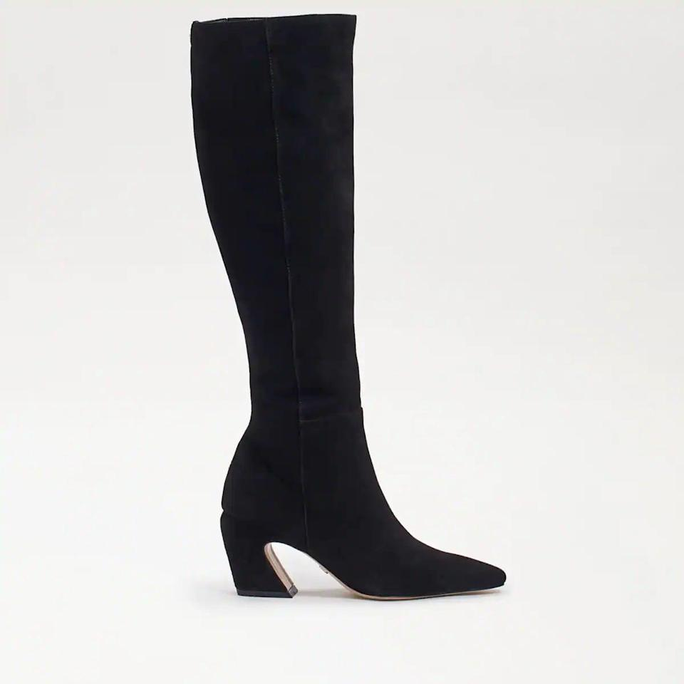 <p>We love Sam Edelman boots because they're so comfortable, and these <span>Sam Edelman Sulema Knee High Boots</span> ($225) do not disappoint. We love the suede, and we've been seeing this curved heel everywhere lately. It's unexpected and chic.</p>