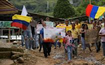 Colombians protest against the use of aerial glyphosate spraying to eradicate coca crops, as the chemical has been shown to have detrimental effects on human health and the environment (AFP/Raul ARBOLEDA)