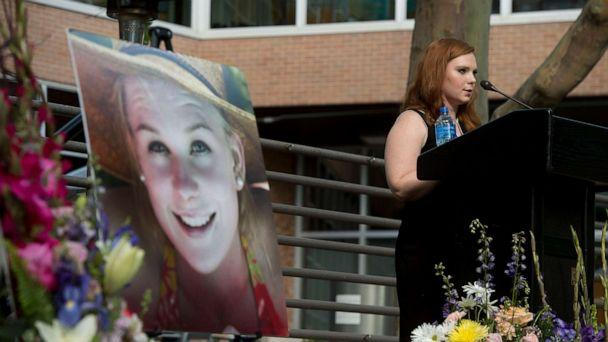 PHOTO: In this July 1, 2019, file photo, Ashley Fine speaks during a vigil for Mackenzie Lueck at the university in Salt Lake City. (Jeremy Harmon/The Salt Lake Tribune via AP, FILE)