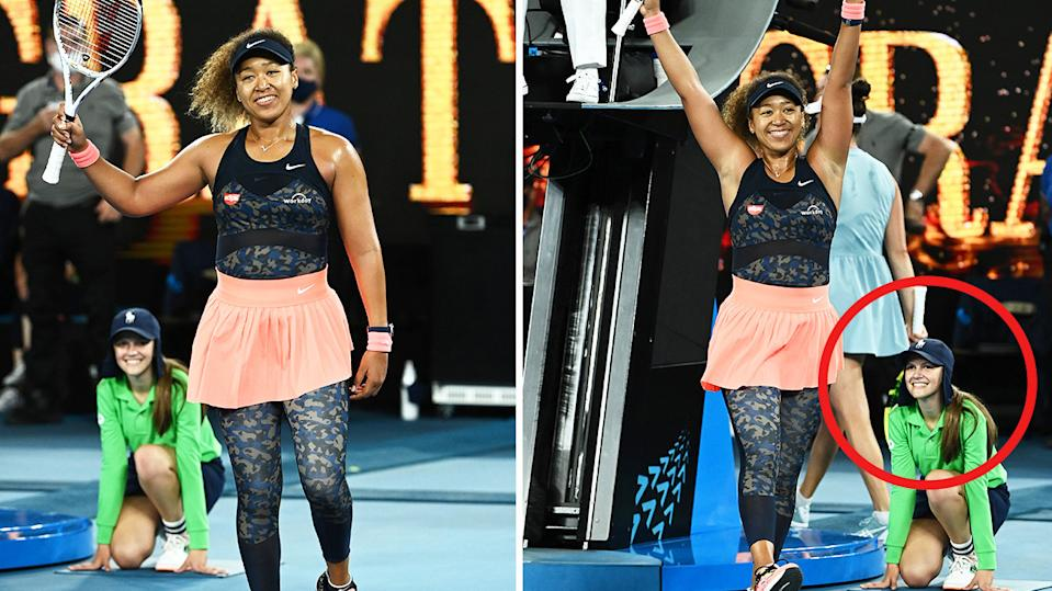 Naomi Osaka (pictured middle) celebrating while Marle van der Merwe (pictured right) smiles.