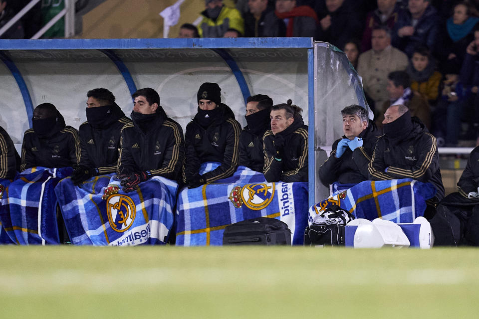 SALAMANCA, SPAIN - JANUARY 22: Gareth Bale of Real Madrid CF in the bench injure during the Copa del Rey round of 32 match between Unionistas CF and Real Madrid CF at stadium of Las Pistas on January 22, 2020 in Salamanca, Spain. (Photo by Quality Sport Images/Getty Images)