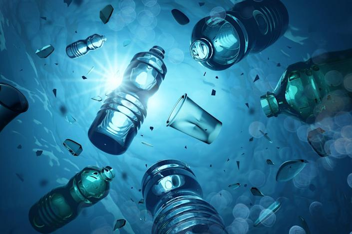 Problem plastic bottles and microplastics floating in the open oceanGetty/iStockphoto