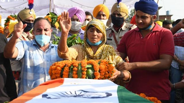 A cremation ceremony for one of the Indian soldiers killed took place on Thursday