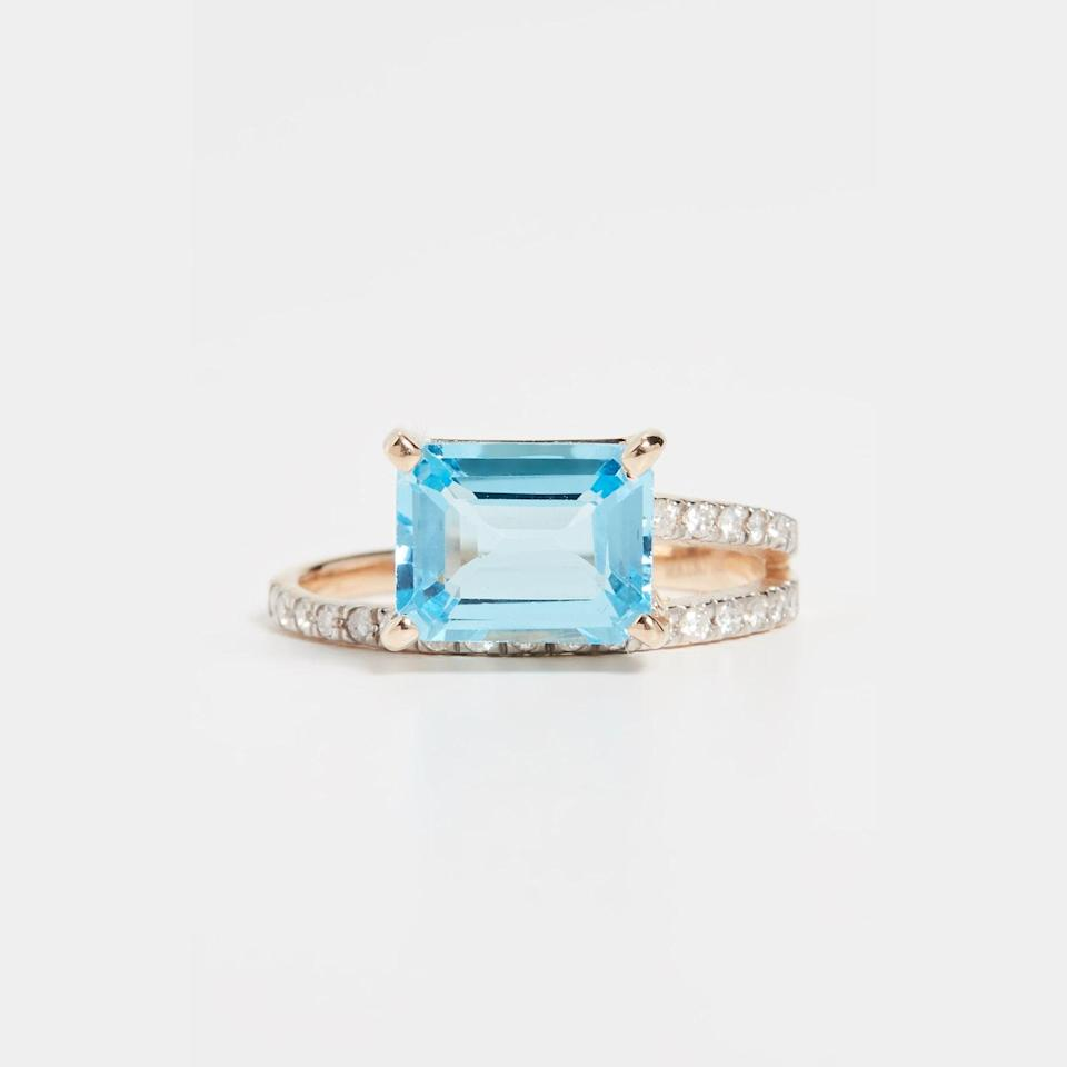 """The bright blue of this topaz is genuinely stunning, and the spiraling band makes it look like you're wearing two rings, not just one. If you prefer an understated gold band for every day wear, you can definitely still wear this statement piece on your index finger. $1375, Shopbop. <a href=""""https://www.shopbop.com/14k-blue-topaz-point-focus/vp/v=1/1574664676.htm"""" rel=""""nofollow noopener"""" target=""""_blank"""" data-ylk=""""slk:Get it now!"""" class=""""link rapid-noclick-resp"""">Get it now!</a>"""