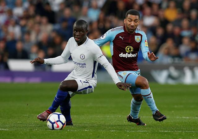 "Soccer Football - Premier League - Burnley vs Chelsea - Turf Moor, Burnley, Britain - April 19, 2018 Chelsea's N'Golo Kante in action with Burnley's Aaron Lennon REUTERS/Andrew Yates EDITORIAL USE ONLY. No use with unauthorized audio, video, data, fixture lists, club/league logos or ""live"" services. Online in-match use limited to 75 images, no video emulation. No use in betting, games or single club/league/player publications. Please contact your account representative for further details."