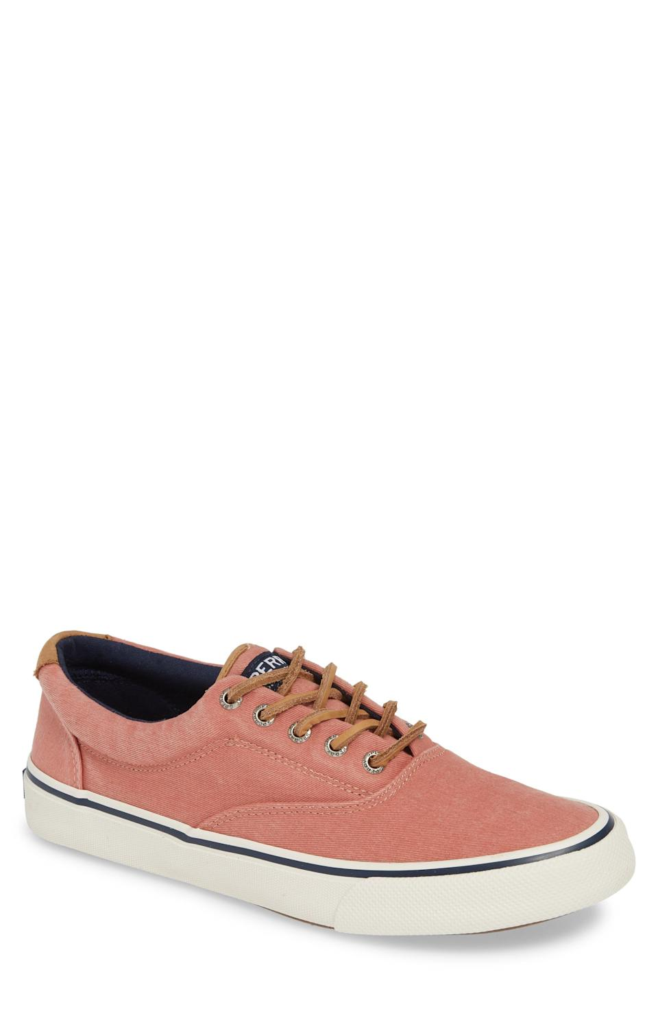 """<p><strong>SPERRY</strong></p><p>nordstrom.com</p><p><strong>$59.95</strong></p><p><a href=""""https://go.redirectingat.com?id=74968X1596630&url=https%3A%2F%2Fshop.nordstrom.com%2Fs%2Fsperry-striper-ii-cvo-oxford-sneaker-men%2F5093980&sref=https%3A%2F%2Fwww.menshealth.com%2Fstyle%2Fg37081969%2Fnordstroms-anniversary-sale-best-sneakers%2F"""" rel=""""nofollow noopener"""" target=""""_blank"""" data-ylk=""""slk:BUY IT HERE"""" class=""""link rapid-noclick-resp"""">BUY IT HERE</a></p><p><del>$60</del><strong><br>$39.90</strong> </p><p>A pop of color never hurt anyone, right? Right. These easy lace-up sneakers are the perfect piece to round out the rest of your wardrobe for the remainder of the summer season.</p>"""