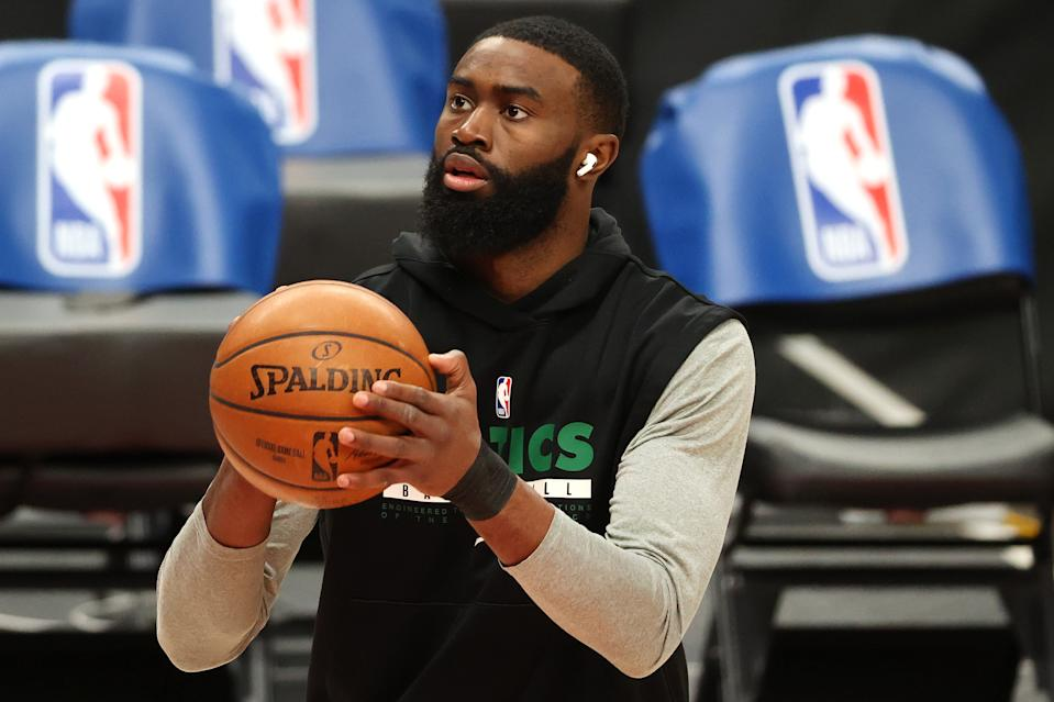 PORTLAND, OREGON - APRIL 13: Jaylen Brown #7 of the Boston Celtics warms up before the game against the Portland Trail Blazers at Moda Center on April 13, 2021 in Portland, Oregon. NOTE TO USER: User expressly acknowledges and agrees that, by downloading and or using this photograph, User is consenting to the terms and conditions of the Getty Images License Agreement. (Photo by Abbie Parr/Getty Images)