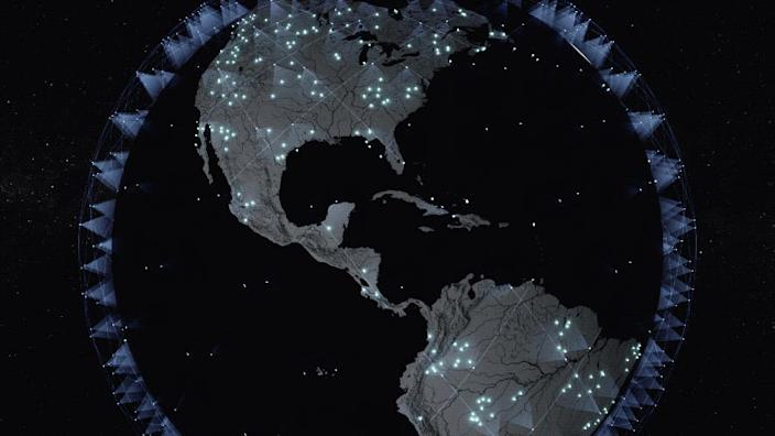 An animation of SpaceX's Starlink satellite constellation providing internet coverage to the Americas.