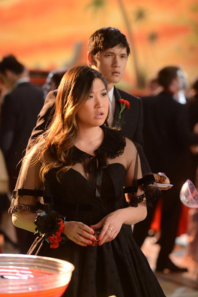 """Mike (Harry Shum Jr.) and Tina (Jenna Ushkowitz) both have confused looks while at their prom in the """"Prom-asaurus"""" episode of """"<a target=""""_blank"""" href=""""http://tv.yahoo.com/glee/show/44113"""">Glee</a>."""""""
